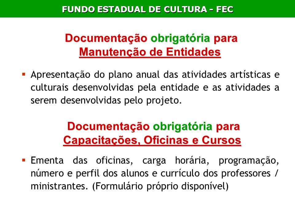 Documentação obrigatória para Manutenção de Entidades