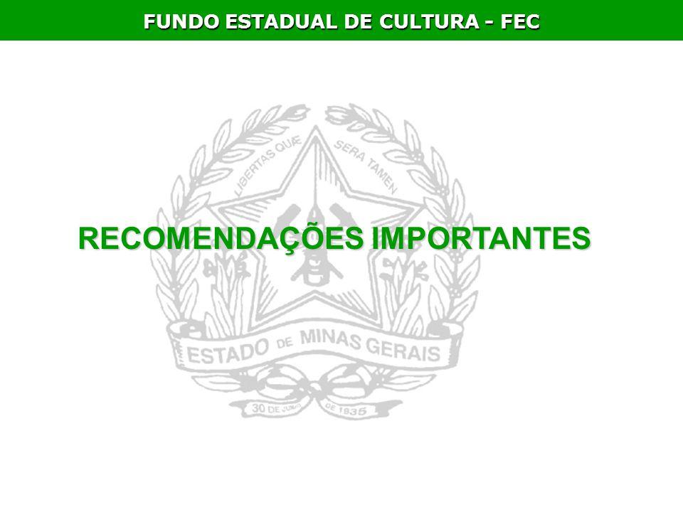FUNDO ESTADUAL DE CULTURA - FEC RECOMENDAÇÕES IMPORTANTES