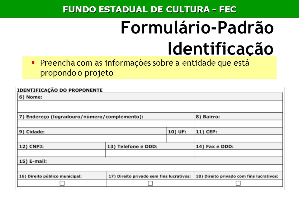 Formulário-Padrão Identificação