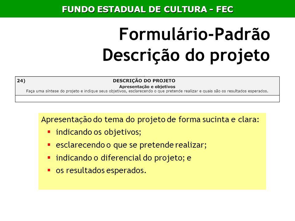Formulário-Padrão Descrição do projeto