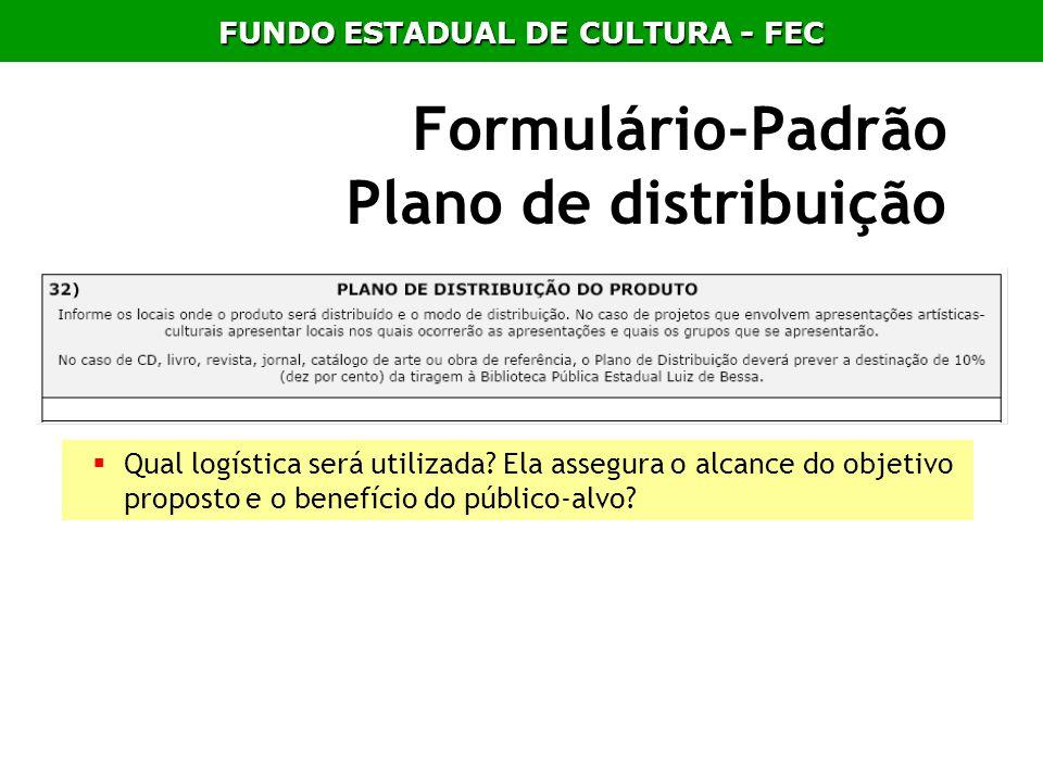 Formulário-Padrão Plano de distribuição
