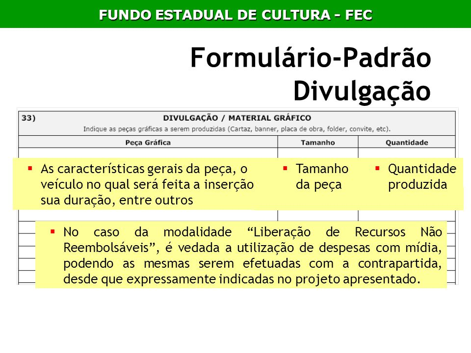 Formulário-Padrão Divulgação
