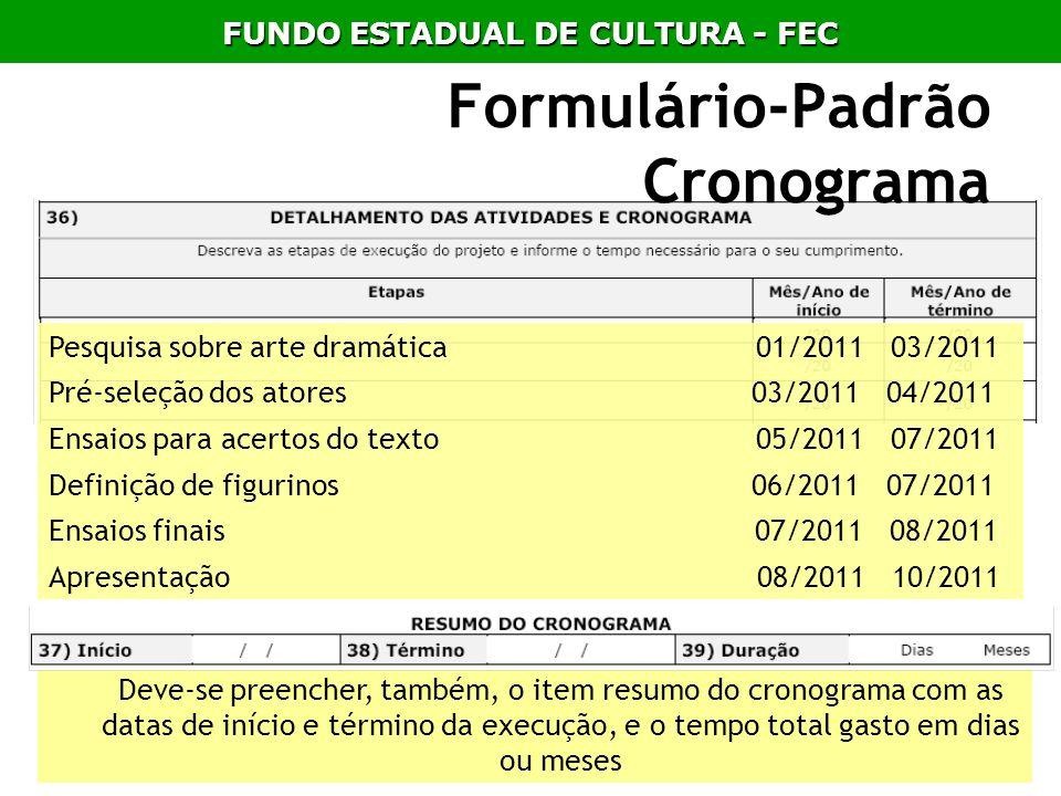 Formulário-Padrão Cronograma