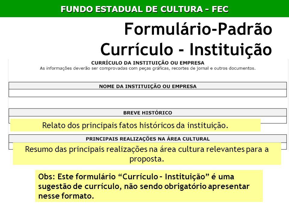 Formulário-Padrão Currículo - Instituição