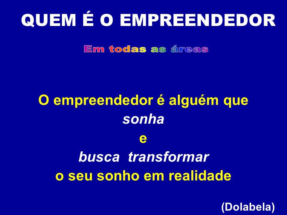 O empreendedor é alguém que o seu sonho em realidade