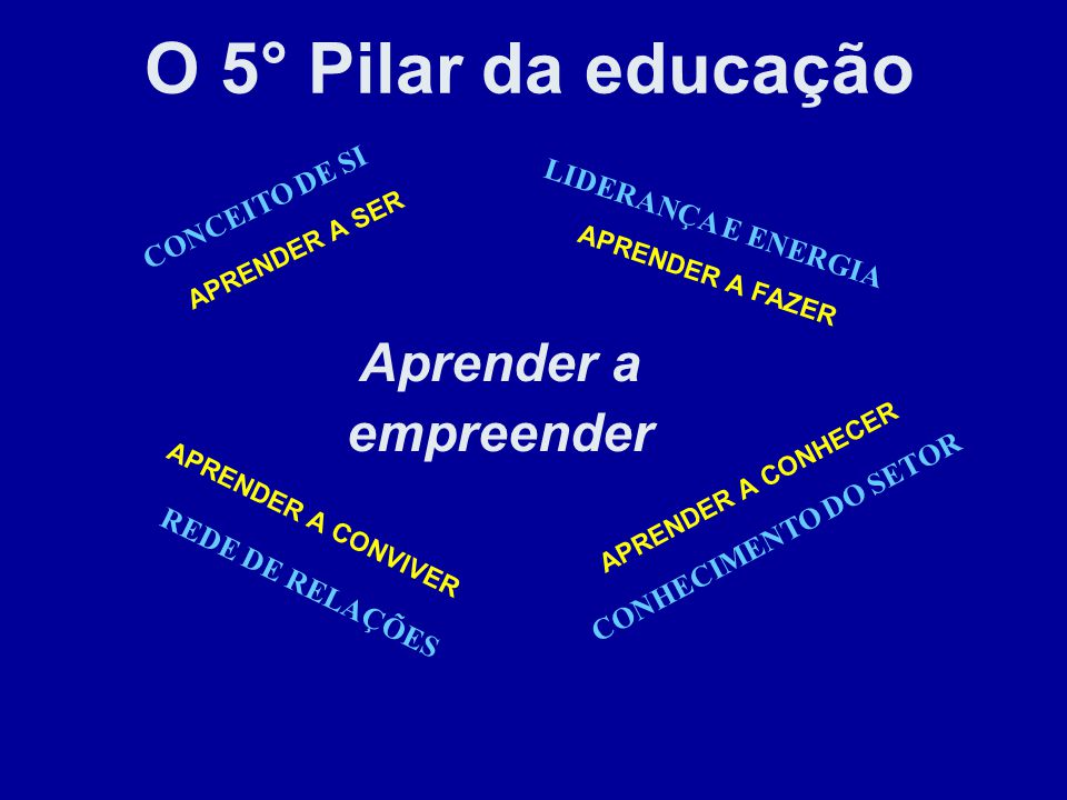 O 5° Pilar da educação Aprender a empreender CONCEITO DE SI
