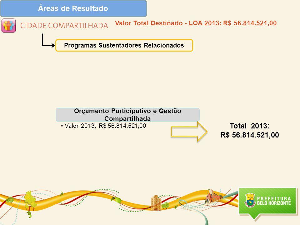 Áreas de Resultado Total 2013: R$ 56.814.521,00