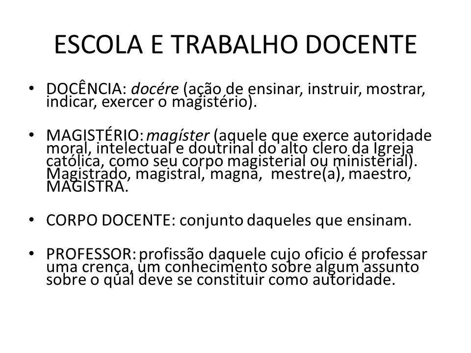 ESCOLA E TRABALHO DOCENTE