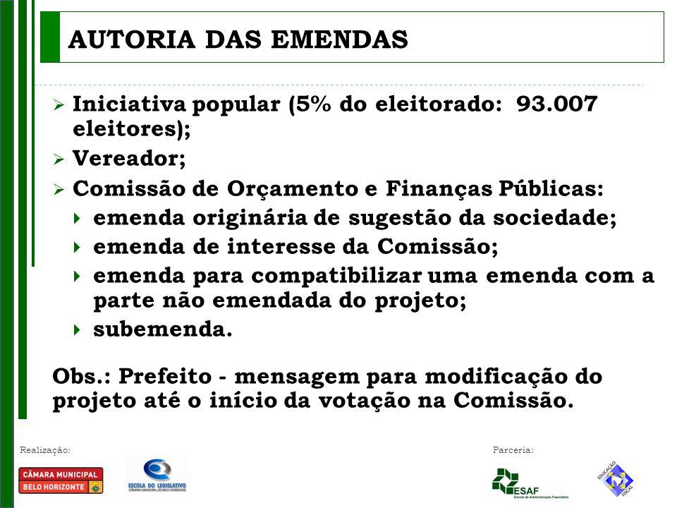 AUTORIA DAS EMENDAS Iniciativa popular (5% do eleitorado: 93.007 eleitores); Vereador; Comissão de Orçamento e Finanças Públicas: