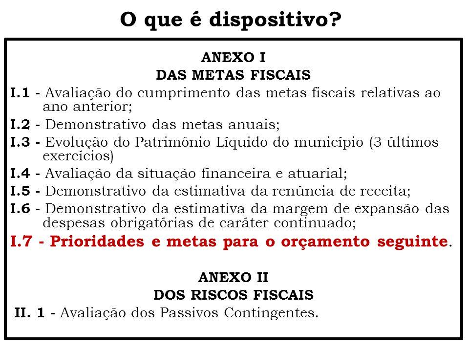 O que é dispositivo ANEXO I. DAS METAS FISCAIS. I.1 - Avaliação do cumprimento das metas fiscais relativas ao ano anterior;
