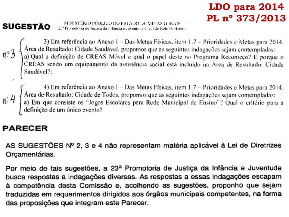 LDO para 2014 PL nº 373/2013