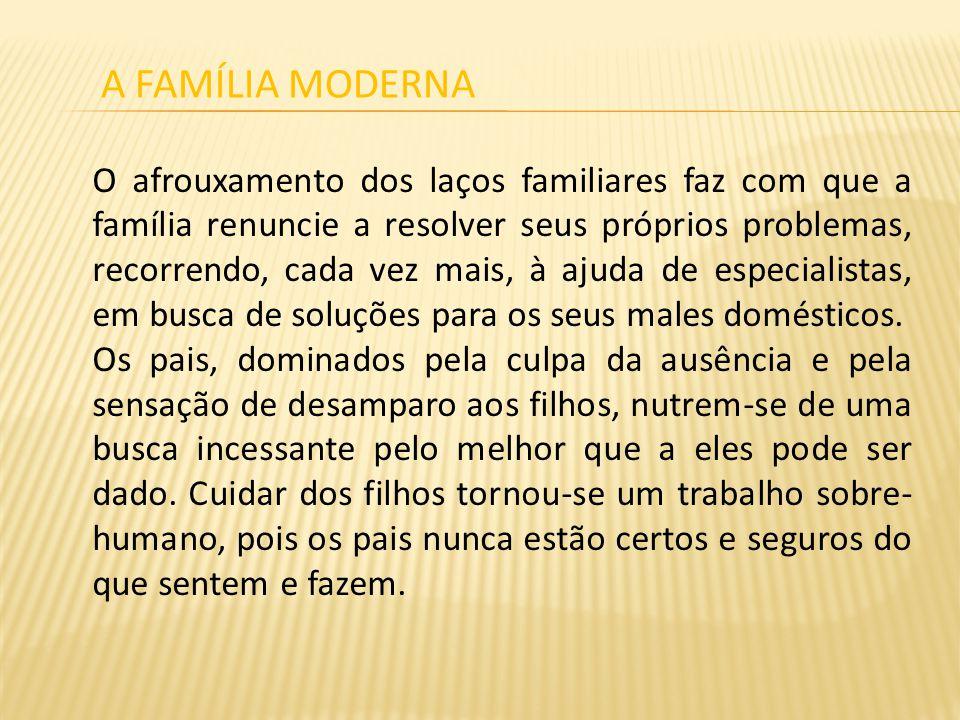 O afrouxamento dos laços familiares faz com que a família renuncie a resolver seus próprios problemas, recorrendo, cada vez mais, à ajuda de especialistas, em busca de soluções para os seus males domésticos.
