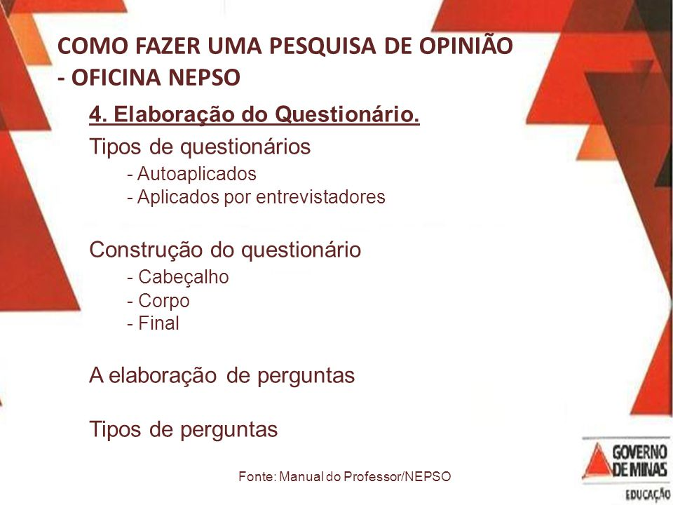 Fonte: Manual do Professor/NEPSO