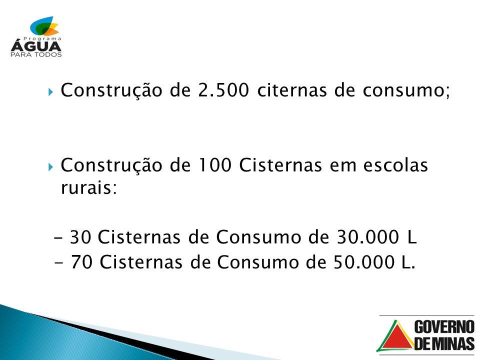 Construção de 2.500 citernas de consumo;