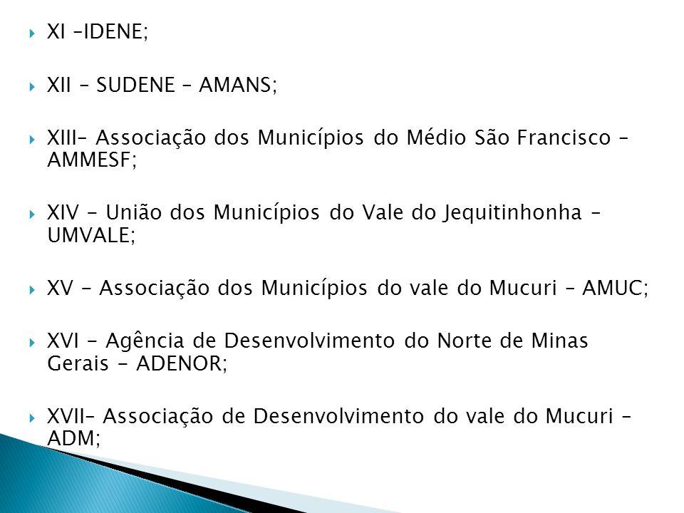 XI –IDENE; XII – SUDENE – AMANS; XIII– Associação dos Municípios do Médio São Francisco – AMMESF;