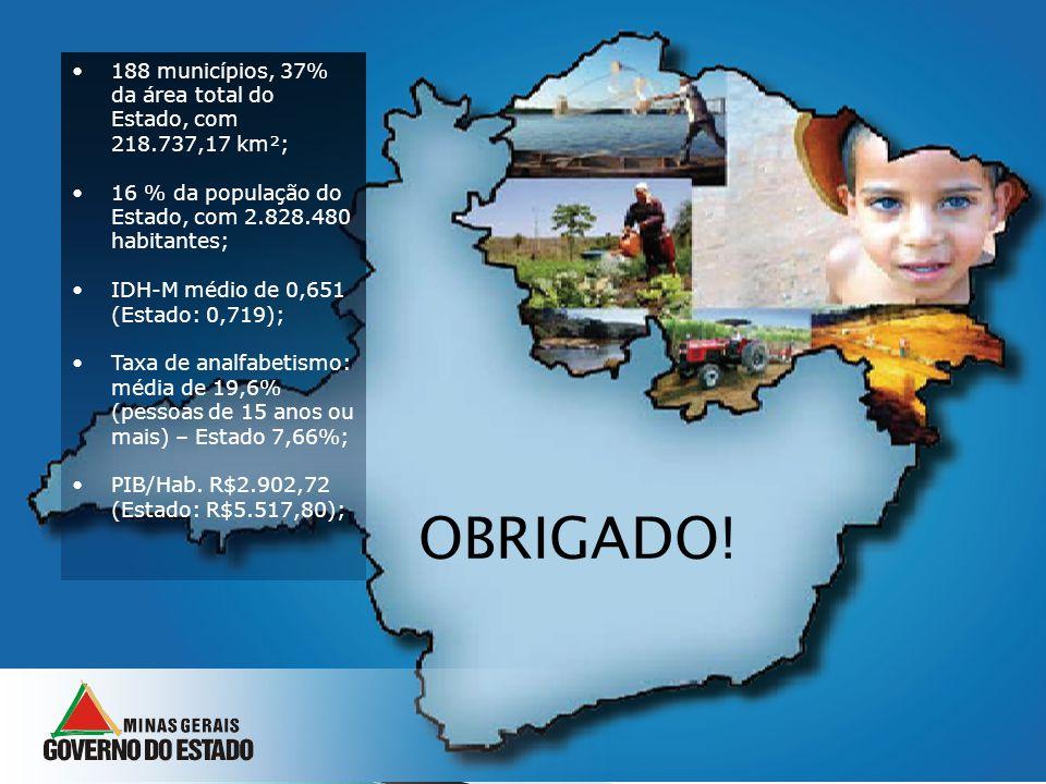188 municípios, 37% da área total do Estado, com 218.737,17 km²;