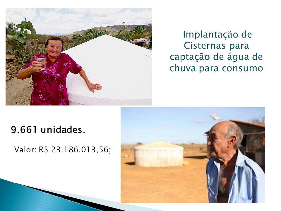 Implantação de Cisternas para captação de água de chuva para consumo