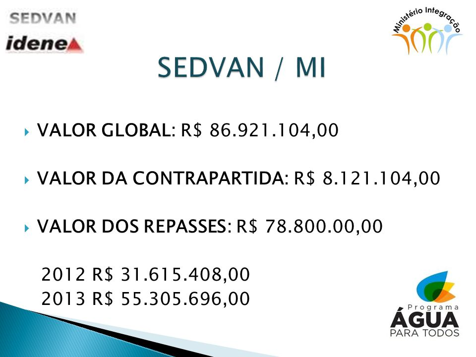 SEDVAN / MI VALOR GLOBAL: R$ 86.921.104,00