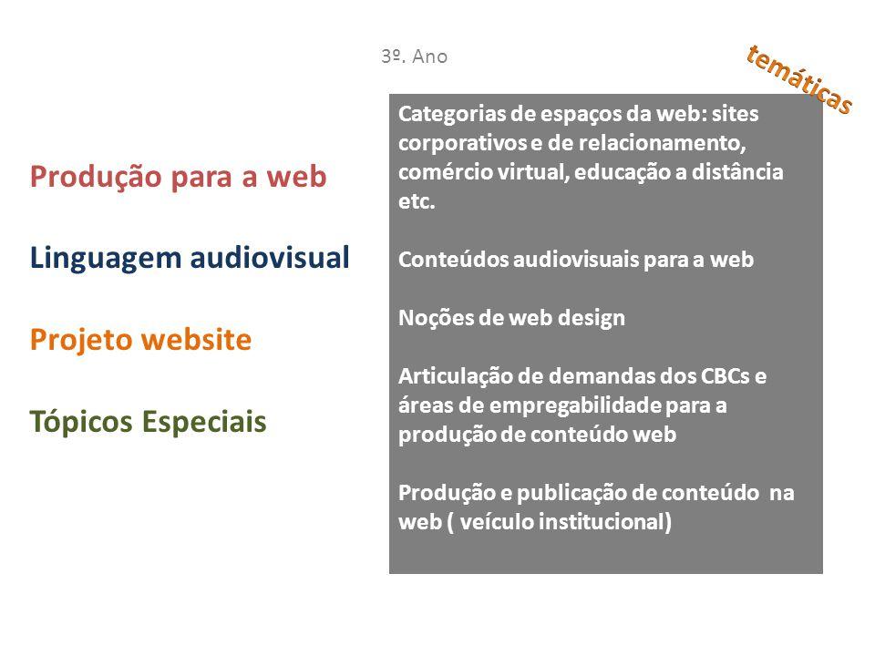 Linguagem audiovisual Projeto website Tópicos Especiais