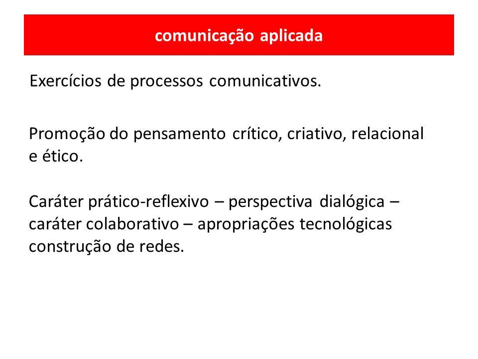 comunicação aplicada Exercícios de processos comunicativos. Promoção do pensamento crítico, criativo, relacional e ético.