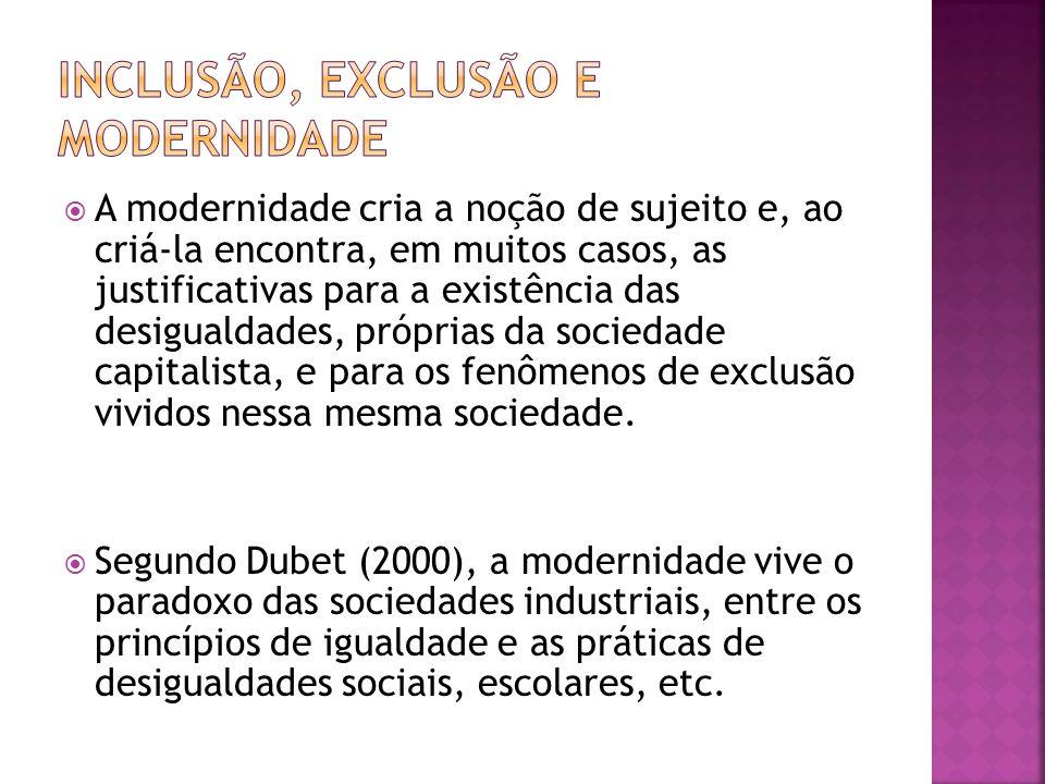 INCLUSÃO, EXCLUSÃO E MODERNIDADE