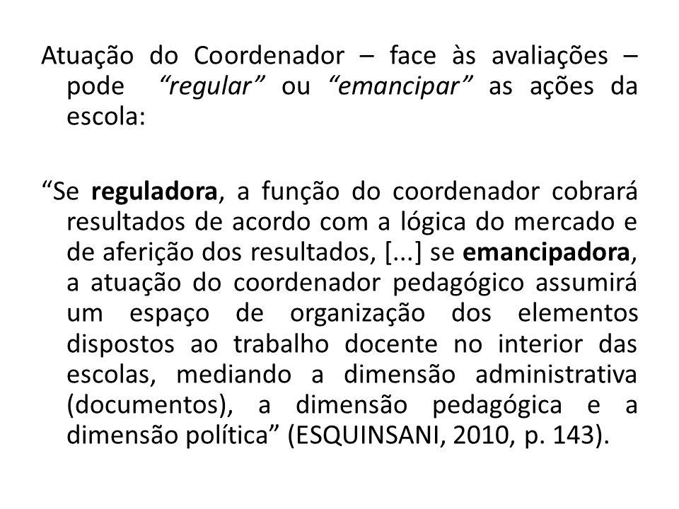 Atuação do Coordenador – face às avaliações – pode regular ou emancipar as ações da escola: