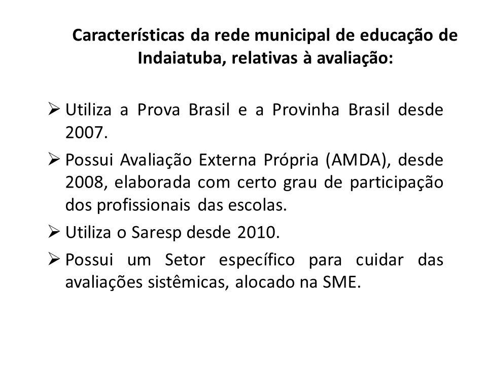 Características da rede municipal de educação de Indaiatuba, relativas à avaliação: