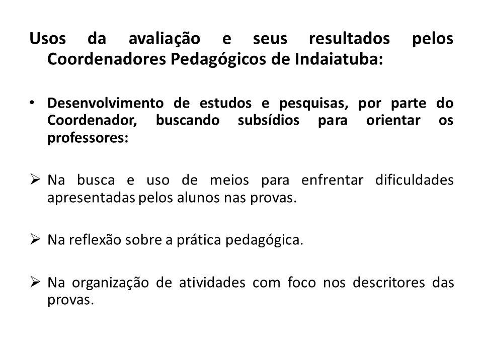 Usos da avaliação e seus resultados pelos Coordenadores Pedagógicos de Indaiatuba: