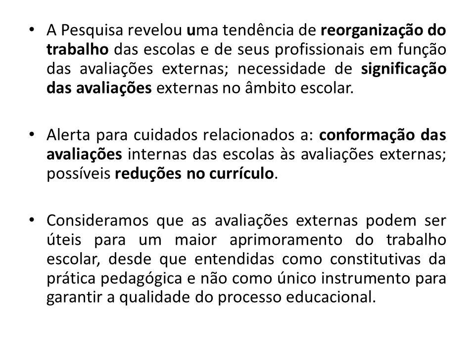 A Pesquisa revelou uma tendência de reorganização do trabalho das escolas e de seus profissionais em função das avaliações externas; necessidade de significação das avaliações externas no âmbito escolar.