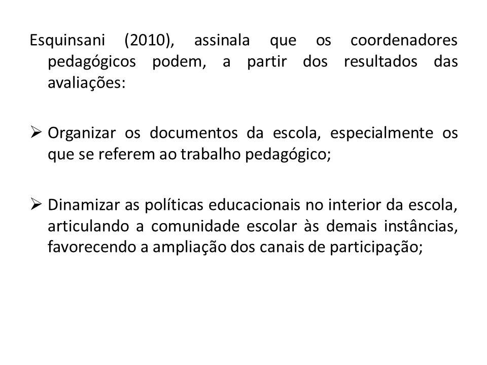 Esquinsani (2010), assinala que os coordenadores pedagógicos podem, a partir dos resultados das avaliações: