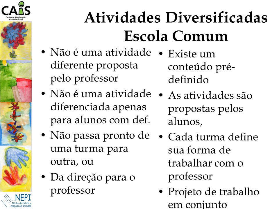 Atividades Diversificadas Escola Comum
