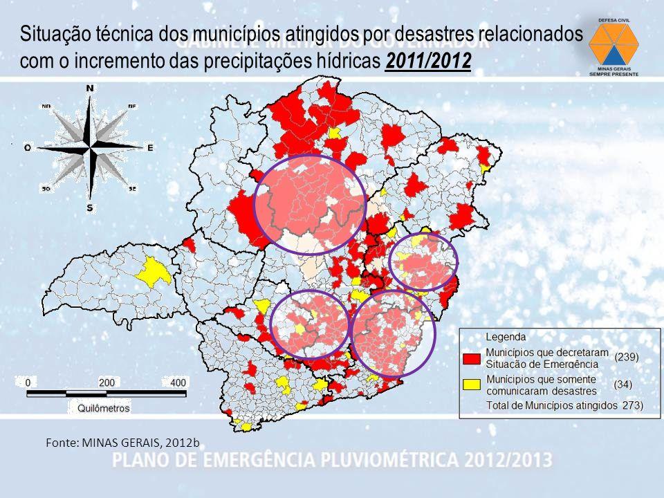 Situação técnica dos municípios atingidos por desastres relacionados com o incremento das precipitações hídricas 2011/2012