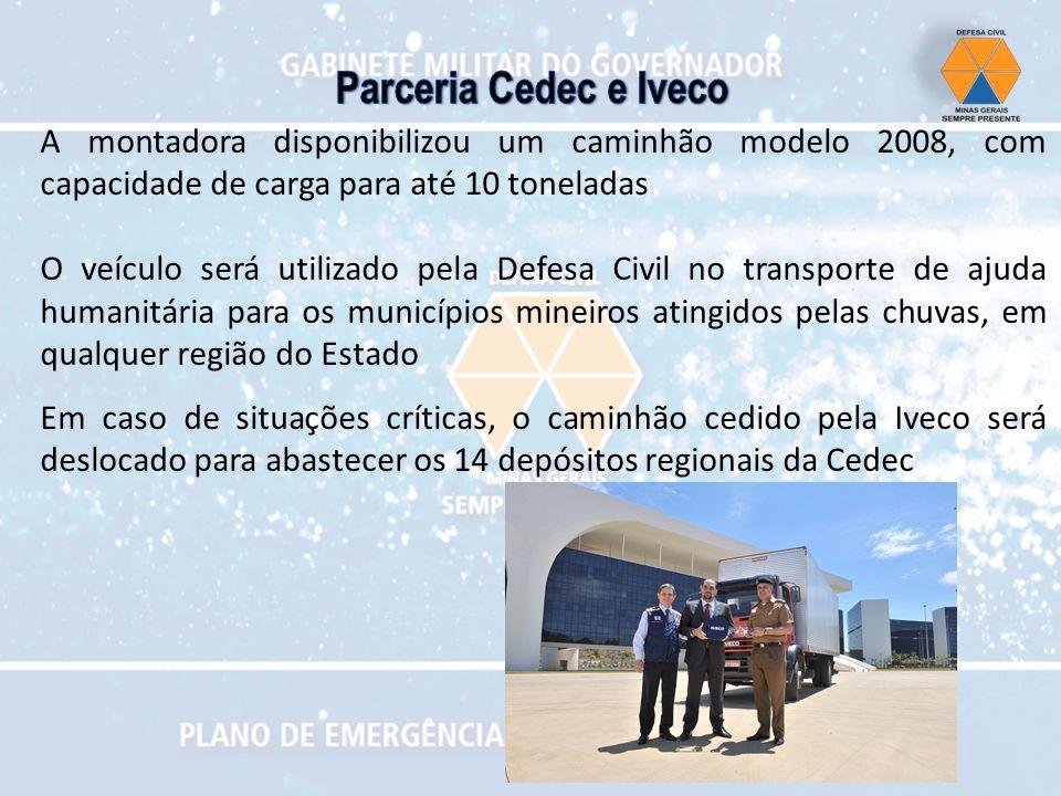 Parceria Cedec e Iveco A montadora disponibilizou um caminhão modelo 2008, com capacidade de carga para até 10 toneladas.