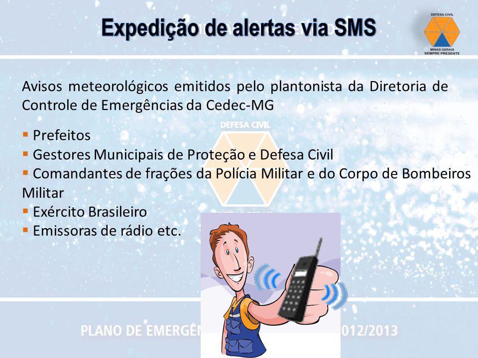 Expedição de alertas via SMS