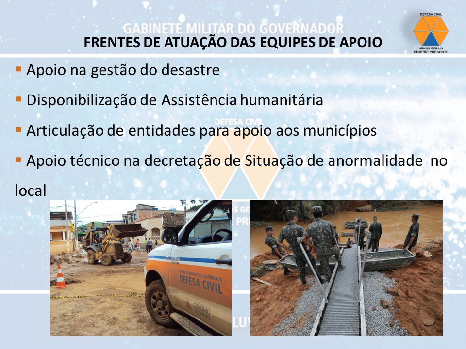 Apoio na gestão do desastre