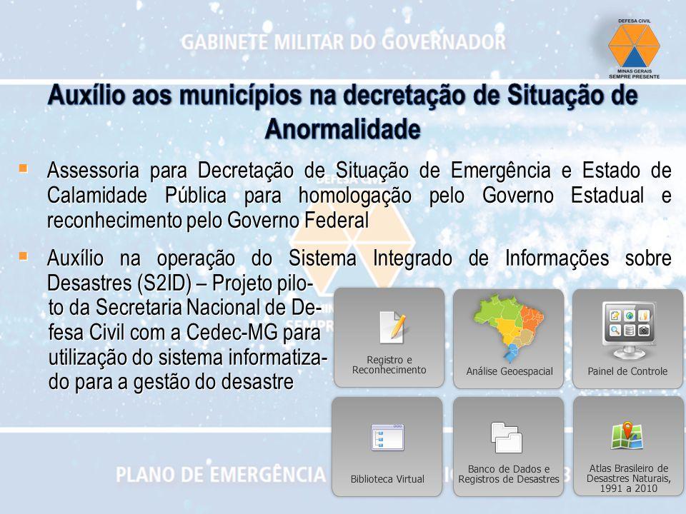 Auxílio aos municípios na decretação de Situação de Anormalidade