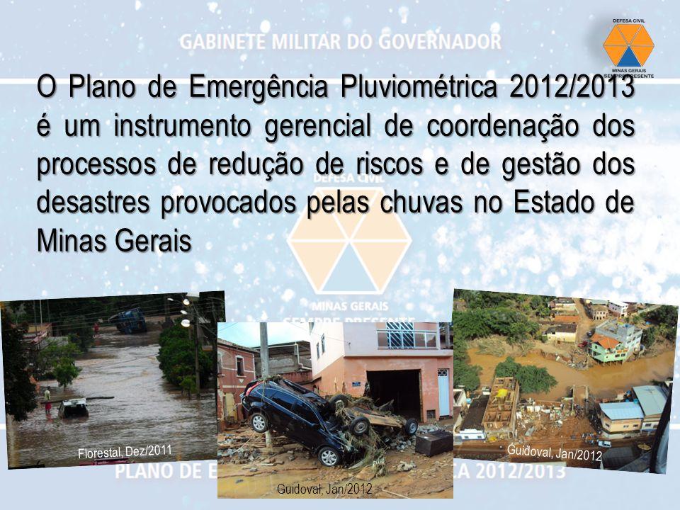 O Plano de Emergência Pluviométrica 2012/2013 é um instrumento gerencial de coordenação dos processos de redução de riscos e de gestão dos desastres provocados pelas chuvas no Estado de Minas Gerais