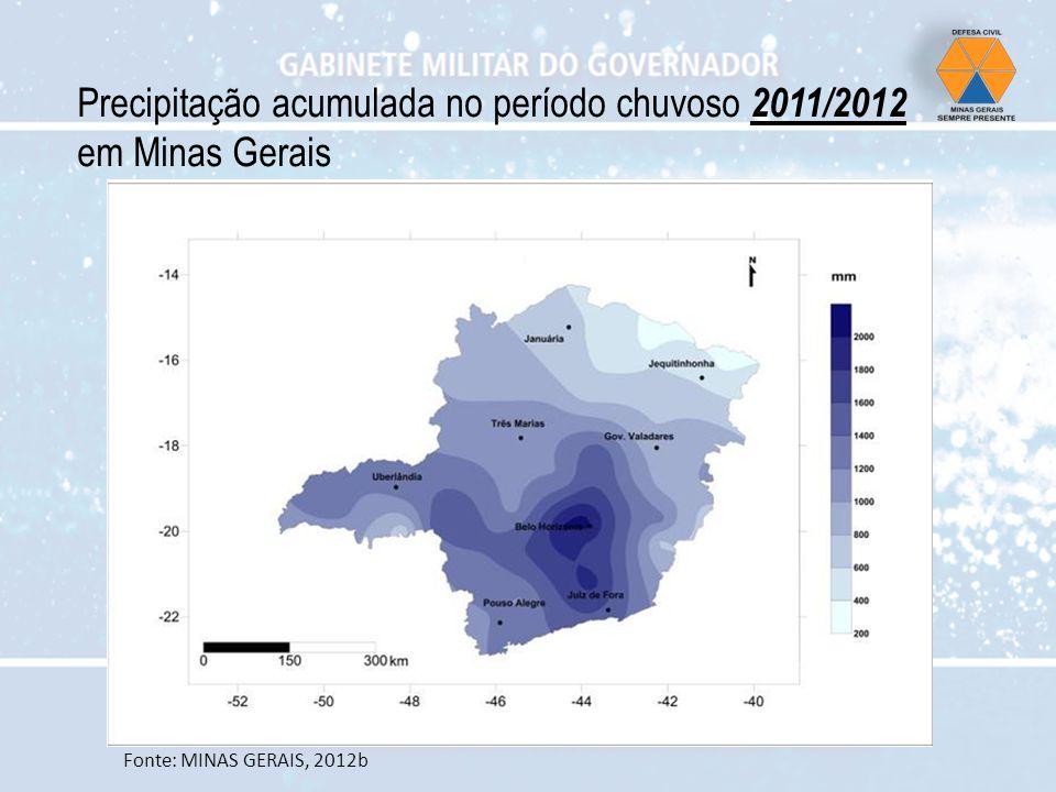 Precipitação acumulada no período chuvoso 2011/2012 em Minas Gerais