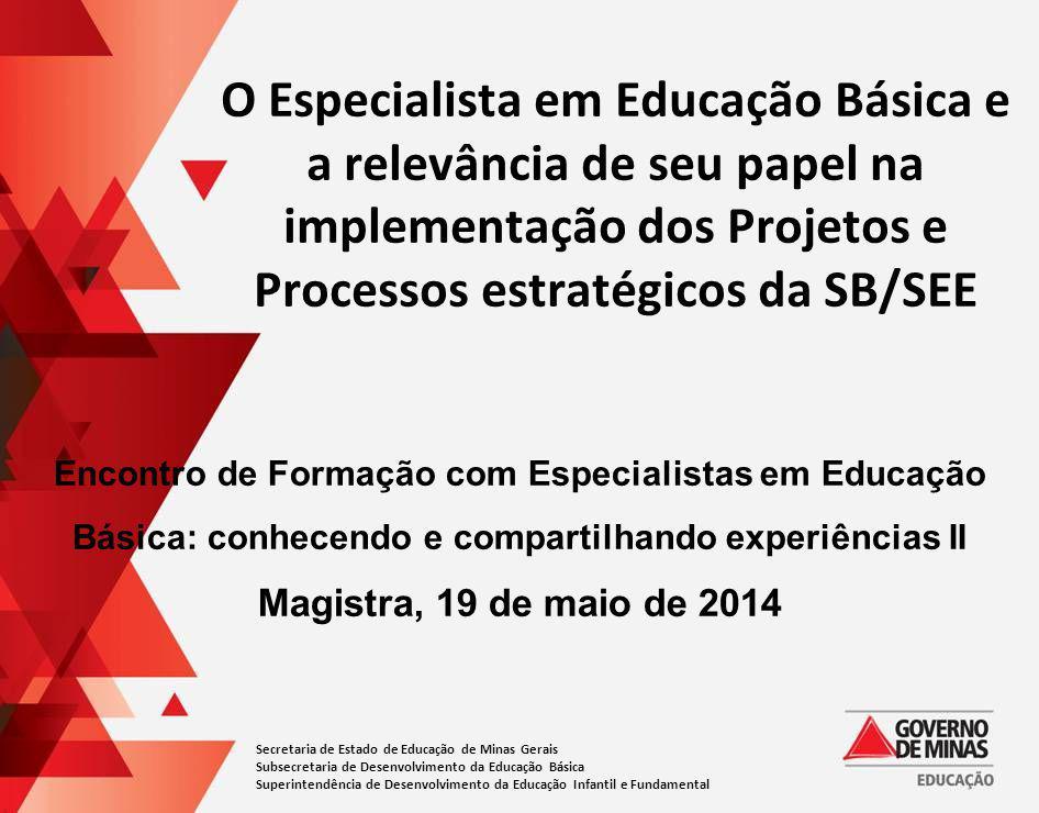 O Especialista em Educação Básica e a relevância de seu papel na implementação dos Projetos e Processos estratégicos da SB/SEE