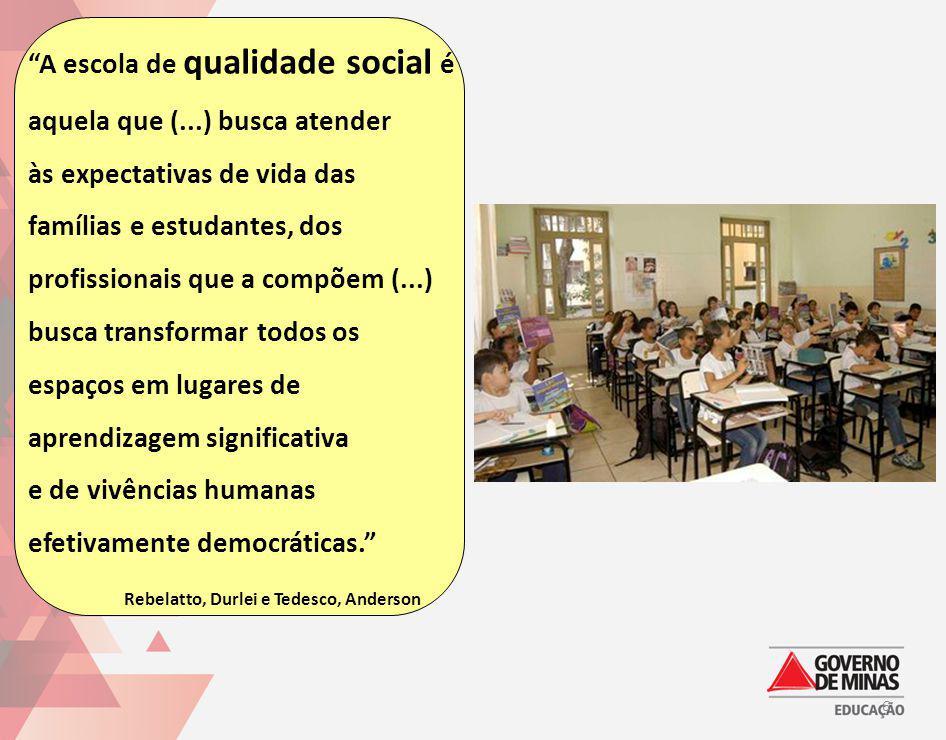A escola de qualidade social é aquela que (