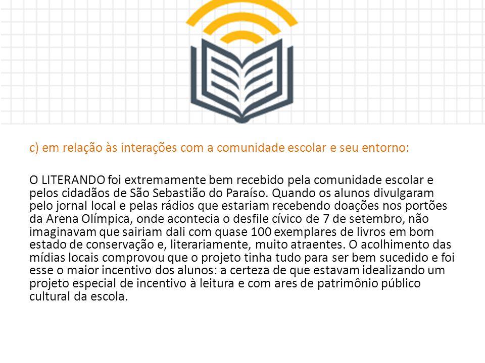 c) em relação às interações com a comunidade escolar e seu entorno: O LITERANDO foi extremamente bem recebido pela comunidade escolar e pelos cidadãos de São Sebastião do Paraíso.