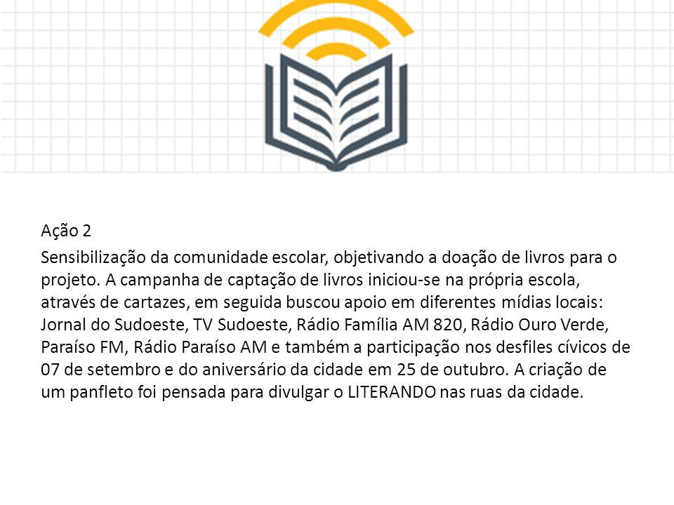 Ação 2 Sensibilização da comunidade escolar, objetivando a doação de livros para o projeto.