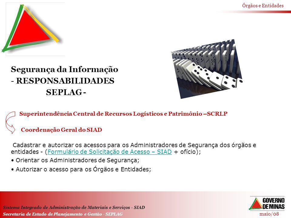 Segurança da Informação RESPONSABILIDADES SEPLAG -