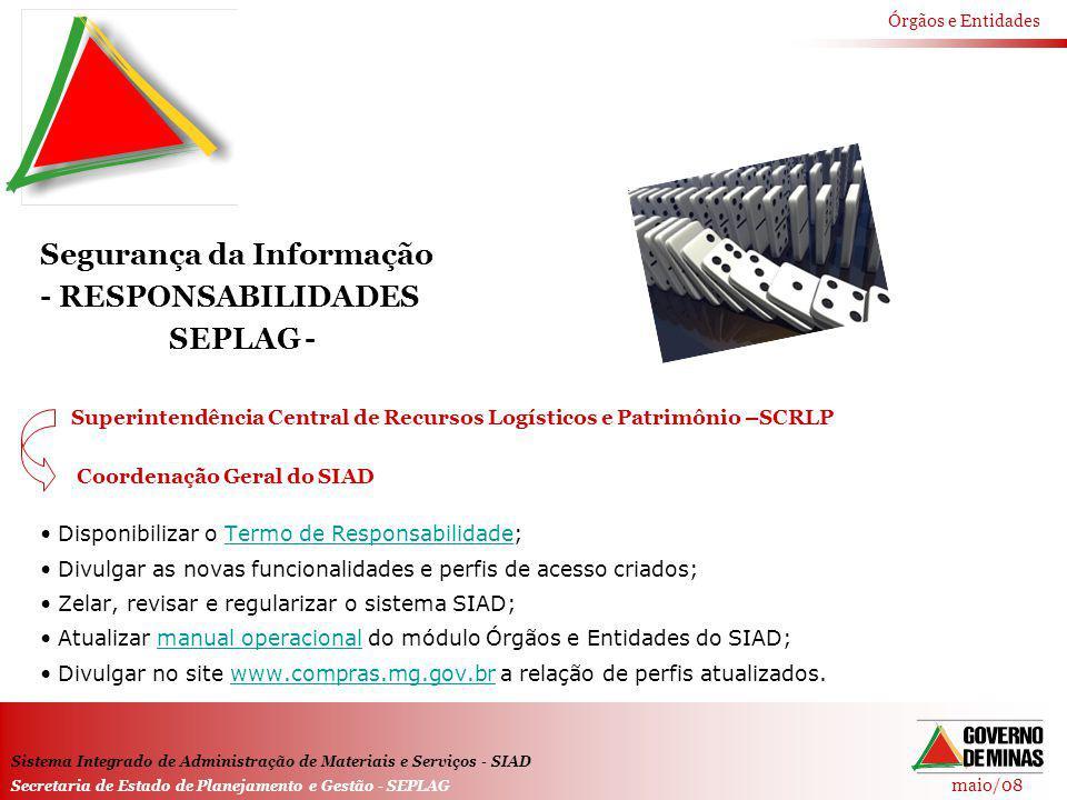 Segurança da Informação - RESPONSABILIDADES SEPLAG -