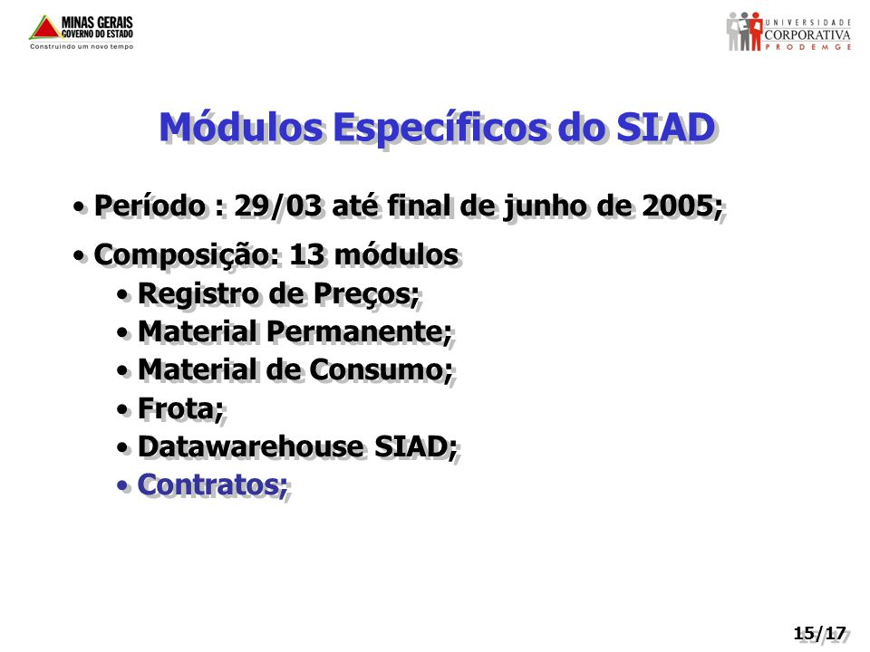 Módulos Específicos do SIAD
