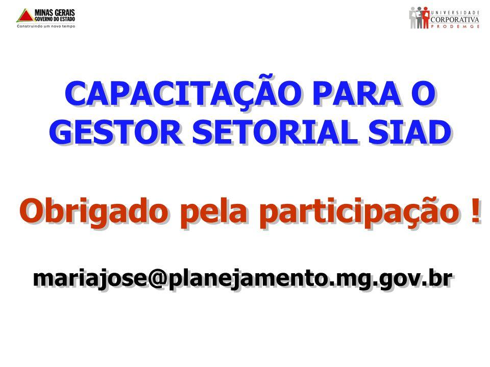 CAPACITAÇÃO PARA O GESTOR SETORIAL SIAD Obrigado pela participação !