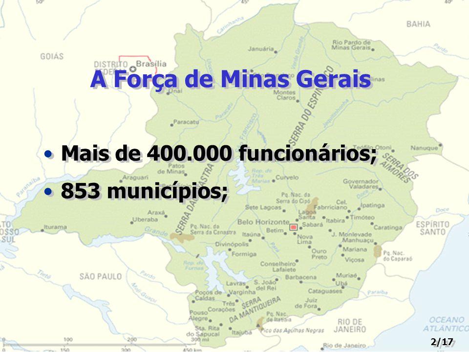A Força de Minas Gerais Mais de 400.000 funcionários; 853 municípios;