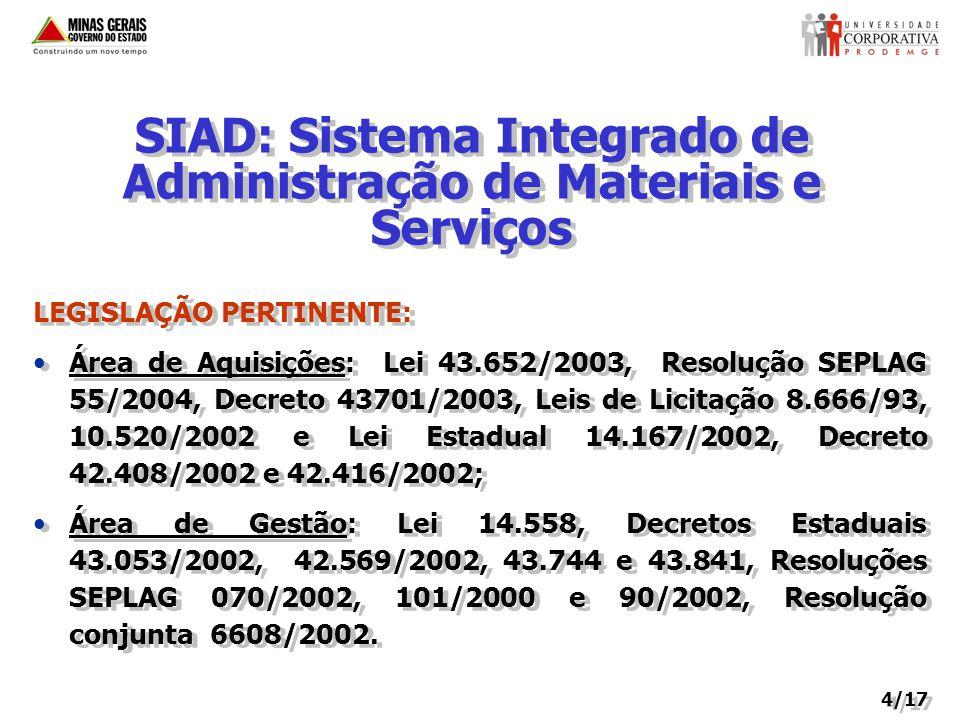 SIAD: Sistema Integrado de Administração de Materiais e Serviços