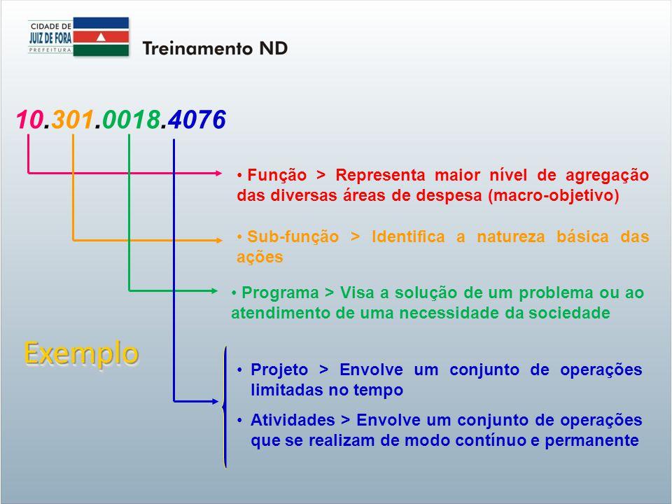 10.301.0018.4076 Função > Representa maior nível de agregação das diversas áreas de despesa (macro-objetivo)