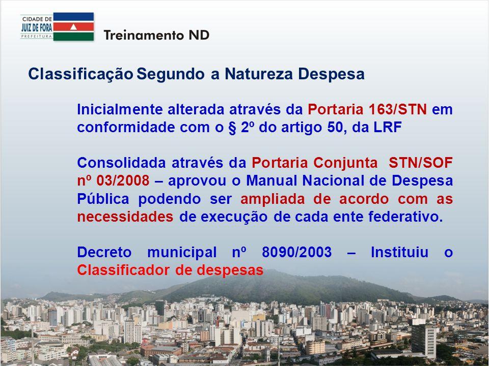 Classificação Segundo a Natureza Despesa